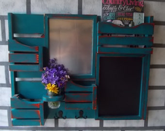 Message Center--Magnetic Board--Chalkboard--Kitchen Decor--Mail Organizer--Magazine Holder