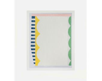 fun, modern, abstract original screenprint. Colorblock, minimal art by Emma Lawrenson
