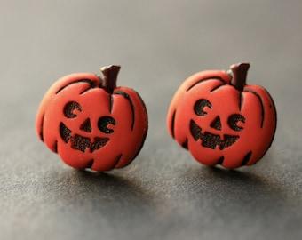 Happy Pumpkin Earrings. Halloween Earrings. Jack o Lantern Earrings. Halloween Jewelry. Stud Earrings. Post Earrings. Handmade Jewelry.