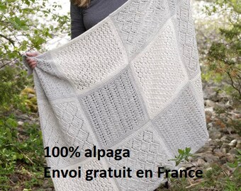 Blanket knitted Alpaca hand-square openwork points, throw, Afghan, bedspread, home decor, wedding gift