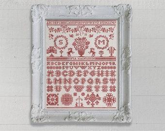 INSTANT DOWNLOAD Midsummer Sampler PDF counted cross stitch patterns by Modern Folk  monochromatic Anniversary Wedding Valentine's Day