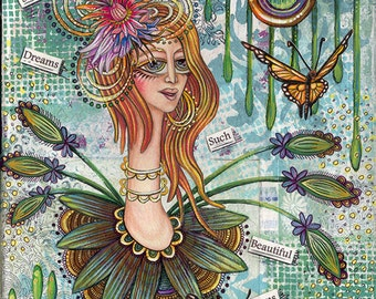 """She Dreams Such Beautiful Dreams - an 8 x 10"""" ART PRINT of an inspirational woman full of strength and serenity as she dreams of butterflies"""