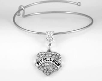 Pit Bull Mom bracelet Pitbull bracelet Dog Canine Pit bull jewelry Pitbull lovers gift  Terrier  European Style Bangle Bracelet