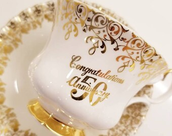 ROYAL ALBERT  Vintage 50th Anniversary Gold Filigree Tea Cup and Saucer / Vintage Tea Party / Collectable