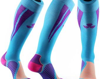 Samson® Blue Purple Compression Sports Socks Athletic Running Made in UK