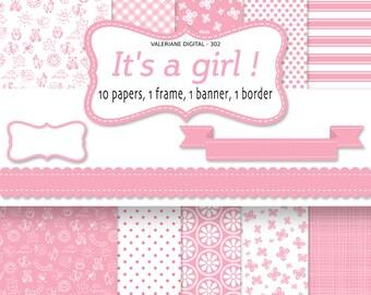 Baby Girl Digital Paper, pink baby backgrounds for scrapbooking, invitation, pink digital paper - INSTANT DOWNLOAD Pack 302