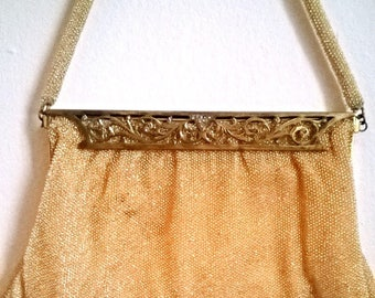 Gorgeous and Vintage Golden French Beaded Purse