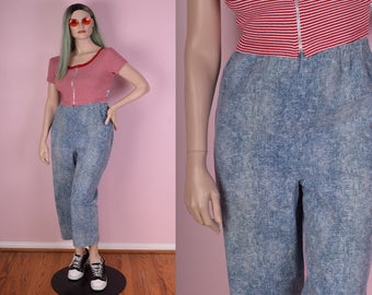 90s Acid Wash Denim Printed High Waisted Pants/ 32-38 Waist/ 1990s