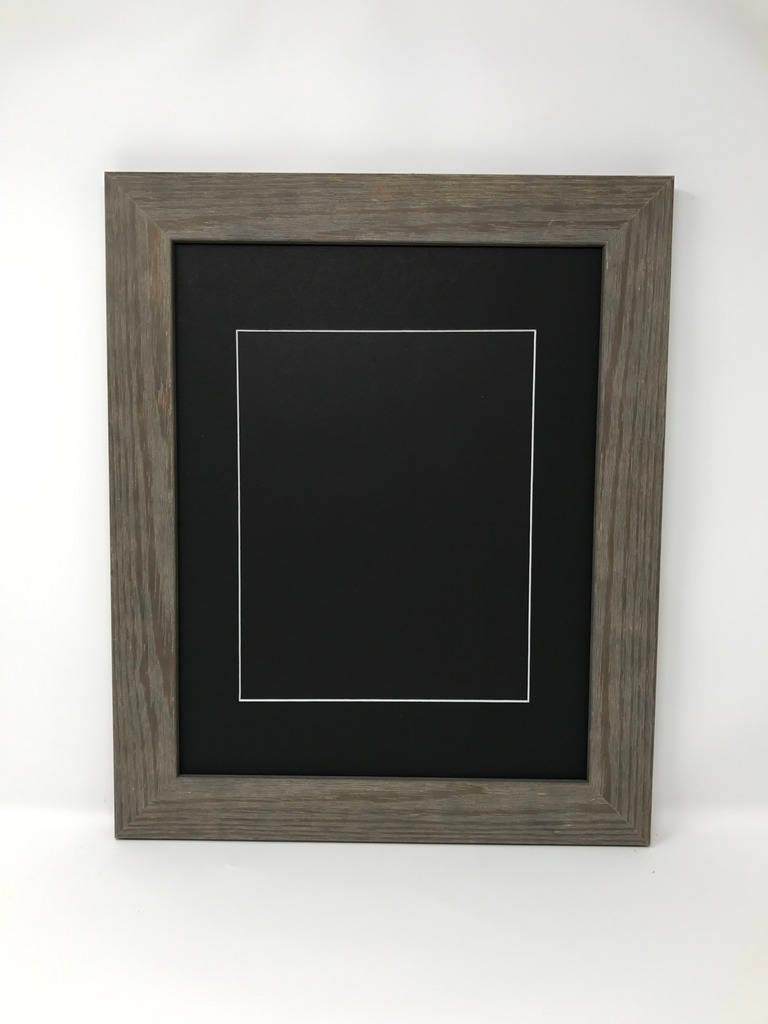 22x28 175 Rustic Grey Solid Wood Picture Frame with Black Mat Cut