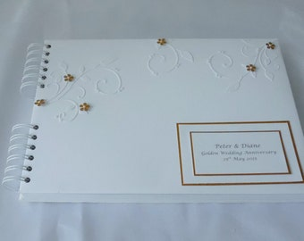 Golden  Wedding Anniversary Guest Book,Personalised,A4, With Flowers And Flourishes ,Boxed
