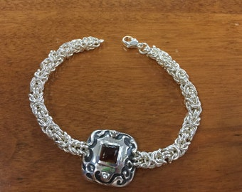 Sterling Silver and Amber Byzantine Double Link Bracelet