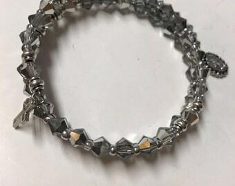 Rosary Bracelet Wrap,Silvertone Bracelet,Rosary Bracelet