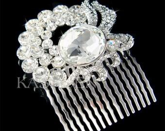 Swarovski Cluster Round Crystal Big Oval Design Curve Line Sparkling Bridal Headpiece Clip Hair Comb Fascinator Accessory jewelry adornment