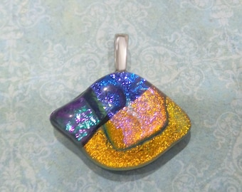 Dichroic Glass Pendant, Blue, Orange, Green, Purple, Fused Glass Jewelry, Ready to Ship, Dichroic Jewelry - In the Blink of an Eye - 3265-6