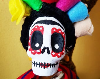 Frida Kahlo Doll, catrina, day of the dead, Mexican doll painter, rag doll, skull, fabric doll, handmade doll
