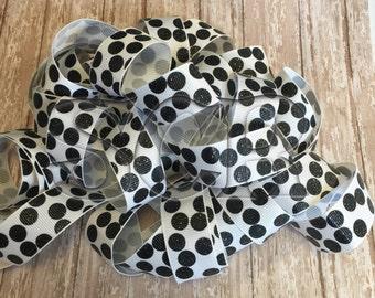 Designer Ribbon, Glitter Grosgrain Ribbon, Black White print ribbon, DIY Craft Supplies, Hair bow accessory, gift supply, hairbow holder