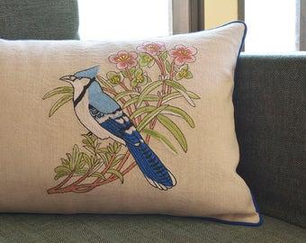 Bulbul Cushion Cover , Embroidered Bird Pillow Cover , Blue Bird Cushion Cover , Spring Decor , Bird Pillow Cover , Ecru Cotton Linen Pillow
