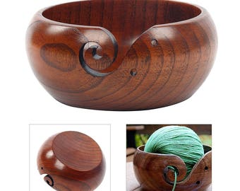 """Sheesham Wood Yarn Bowl. Wooden Yarn Bowl Holder 6"""" x 3"""" x 6"""". Authentic, Imported From India Gift  For Knitting & Crochet"""