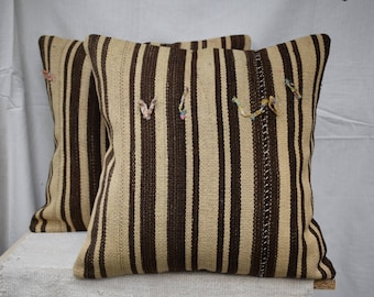 Set of two kilim pillow Striped kilim pillow Sofa set pillow Bed pillow cover Couch kilim pillow Anatolian kilim pillow Naturel pillow AG-4