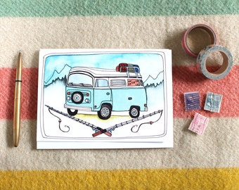 Camping Card - Vintage Bus - Card for Campers - Card for Dad - Summer Adventures - Camping Bus Card - Van Adventures Father's Day Card