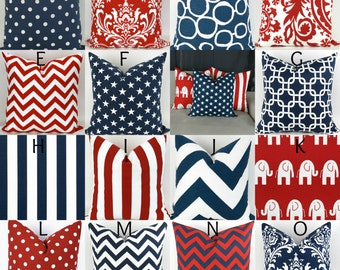 Patriotic Throw Pillow Cover, Red White & Blue Mix/Match Patterns, American Flag, 4th of July Decor, Republican Elephant  -18x18 inch-