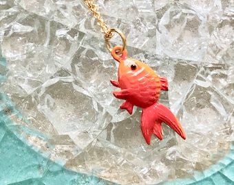 Goldfish Necklace, Goldfish, Necklace, Goldfish Jewelry, Fish Necklace, Fish, Animal Jewelry, Fish Jewelry, Goldfish Pendant, Koi Necklace