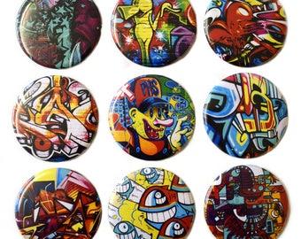 Graffiti Street Art Fridge Magnets Set x9 55mm