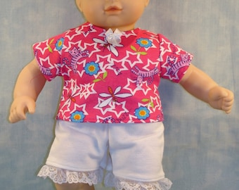 15 Inch Doll Clothes - Cats and Dragonflies Shorts Outfit handmade by Jane Ellen to fit 15 inch baby dolls