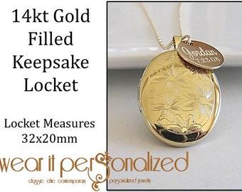 Gold Locket Necklace Personalized, 14kt Gold Filled Locket,Keepsake Necklace,Engraved Locket,Wedding Bridal Necklace,Photo Locket,Bridesmaid