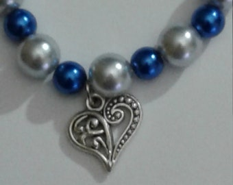 Heart Charm on Beaded Bracelet with Lobster Claw Clasp