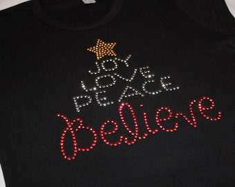 Joy Love Peace BELIEVE original short sleeve rhinestud tee by 1286 Kids (formerly Daisy Creek Designs)