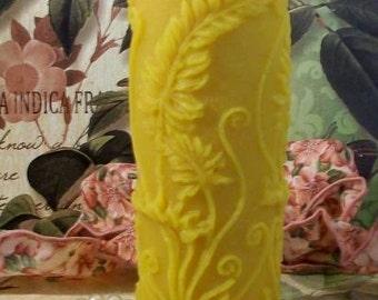 Beeswax Fern Leaf Pillar Candle