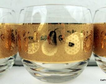 Vintage Roly Poly Gold Glasses Culvers Gold Signed Glasses  Mad Men Era Fruit Pattern