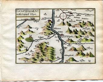 1634 Nicolas Tassin Map Pont Saint Esprit, Mornas, Bollene, Bagnols sur Ceze, Gard, Languedoc Roussillon, France Antique