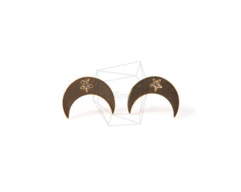 ERG-453-MG/2PCS/Crescent Moon Earring Moon/11mm x 13mm/Matte Gold Plated over Brass/925 Sterling Silver Post
