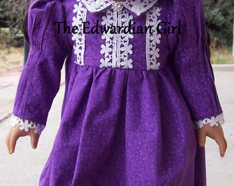 OOAK ultra violet purple Edwardian/Victorian era doll dress for 18 inch play dolls such as American Girl, Springfield, OG. Made in USA