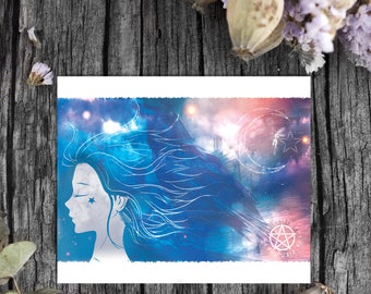 Digital Download, Spiritual, Raven, Pentacle, Spiritual Art, Witchcraft, Witchcraft Decor, Wicca Decor, Wall Art, Instant Download