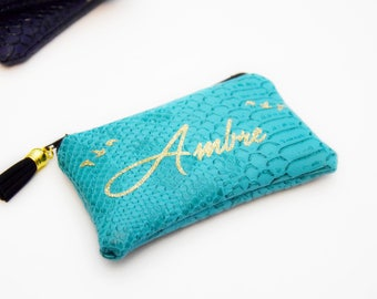 Personalized name - personalized gift turquoise leather wallet-Christmas gift for woman-child - under 20 euros