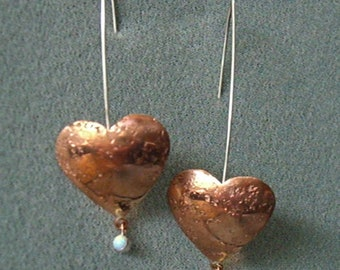Copper Heart Earring with Opals!