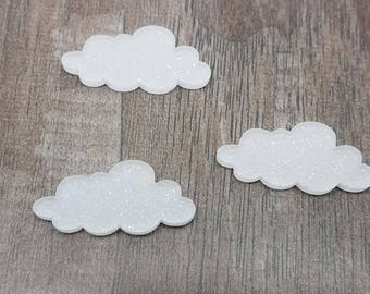 25mm White Glitter Acrylic Clouds - Laser Cut Acrylic Cabochons - 10 Pcs: ACRY-CLD-01