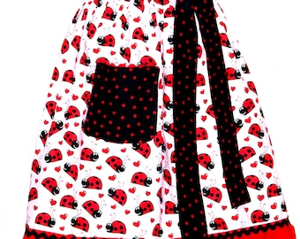 Pink Ladybugs Apron, Sexy Waist Half, Hostess Party Ladies Apron, No Shipping Charges, Ready To Ship TODAY, AGFT 383