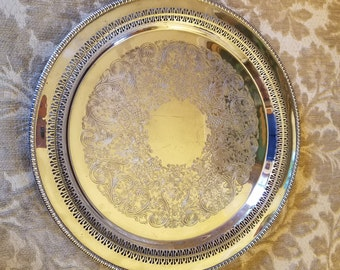 "Reduced - Large Vintage Silverplate Tray with cutouts - 14 7/8"" Diameter - WM A Rogers - Round Reticulated Tray"