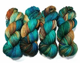 Hand Dyed Yarn super wash merino wool sport DK weight base Prairie natural fibre variegated tonal colour Algae knitting crochet weaving