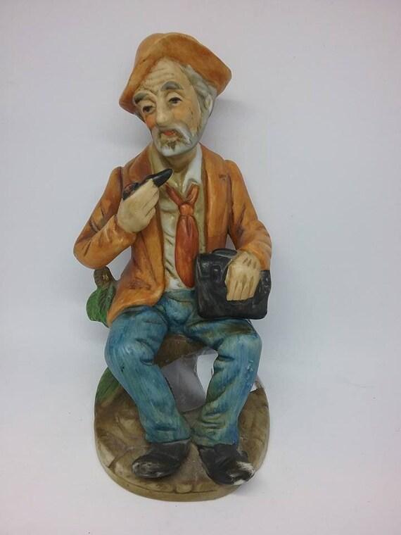 Old Man Figurine, Royal Crown Figurine, Vintage Old Man Figurine, Old Man Smoking Pipe Figurine, Vintage Royal Crown Old Man, Figurine Gift