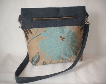 Cross body tote bag from recycled materials