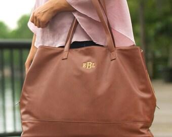 Monogrammed Camel Cambridge Bag