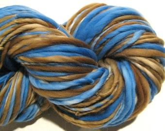 Bulky Handspun Yarn Pooh Sticks 148 yards hand dyed merino wool blue yarn brown yarn waldorf doll hair knitting supplies crochet supplies