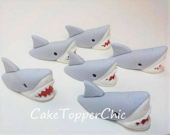 Edible Shark Out of Water Fondant Cupcake Cake Toppers Qty 6  Gray Great White 1st Birthday Boy