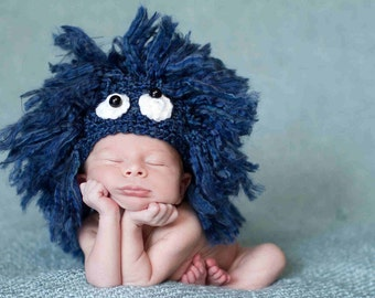 Blue Newborn Baby Hat - Sesame Street Cookie Monster - Photography Prop - Costume - Animal - Fluffy