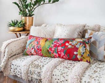 Red Bay Window Cushion, Embroidery Bolster Pillow, Vintage Japanese Kimono Cushion, Metallic Gold Pillow, Unusual Wedding Gift, Long Bolster